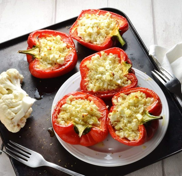 Cauliflower Rice Stuffed Peppers with Feta