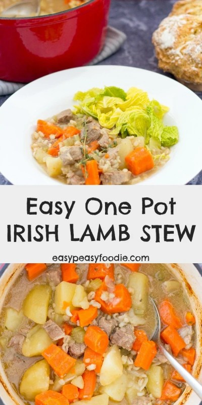Perfect for busy evenings when you don't have much time, this Easy One Pot Irish Lamb Stew is quick to prepare and uses only a few simple ingredients, but definitely doesn't skimp on flavour! #irishstew #irishlambstew #lambstew #onepotirishstew #easyirishstew #traditionalirishstew #onepotrecipes #easyrecipes #lamb #easydinners #stpatricksday #familydinners #easypeasyfoodie