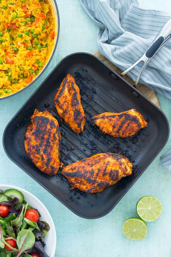 Nandos Peri Peri Chicken Breasts - pan fried in a griddle pan