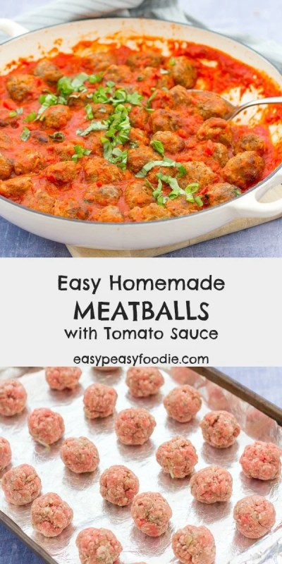 Quick, delicious and very child friendly these Easy Homemade Meatballs with Tomato Sauce are perfect served with spaghetti for an easy peasy midweek meal. #meatballs #easymeatballs #homemademeatballs #meatballsauce #spaghettiandmeatballs #easydinners #easyrecipes #familydinners #midweekmeals #easypeasyfoodie #cookblogshare