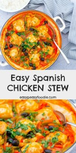 Packed full of flavour, this Spanish Chicken Stew is quick and easy enough for a busy midweek evening, but delicious enough for a weekend - or even a dinner party! Serve with rice, mashed potatoes or crusty bread. #spanishchicken #chickenstew #spanishchickenstew #spanish #chicken #stew #winnerwinnerchickendinner #easydinners #easymeals #midweekmeals #familydinners #chickenandrice #easypeasyfoodie #cookblogshare
