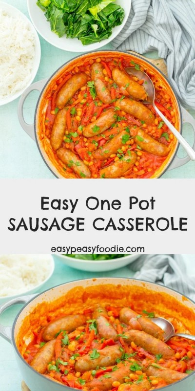Quick, easy and very tasty, this Easy One Pot Sausage Casserole is guaranteed to be a real crowdpleaser! Serve with mounds of buttery mash or steamed white rice for a comfort food classic. #sausagecasserole #sausagestew #casserole #stew #comfortfood #comfortfoodclassic #autumnfood #fallfood #winterwarmer #easydinners #easymeals #midweekmeals #quickandeasymeals #familydinners #dinnertonight #easypeasyfoodie #cookblogshare
