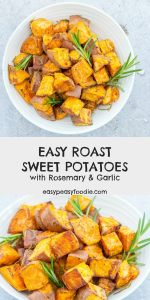 A great alternative to traditional roast potatoes, my Easy Roast Sweet Potatoes with Rosemary and Garlic are quick and simple to make and packed full of flavour and goodness. They are delicious with a classic roast dinner… but equally at home with midweek favourites, such as burgers, fish and chicken. #sweetpotato #sweetpotatoes #roastsweetpotatoes #roastedsweetpotatoes #rosemary #garlic #roastpotatoes #roastdinner #easysides #easysidedishes #easychristmasfood #easypeasyfoodie