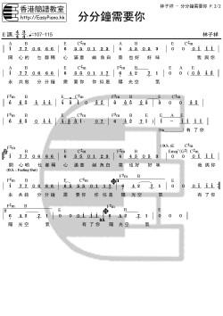 林子祥-分分鐘需要你(Chord簡譜) | EasyPiano.hk流行數碼鋼琴速成班