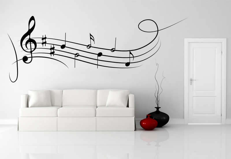 Note musicali adesive per decorazione pareti camera note