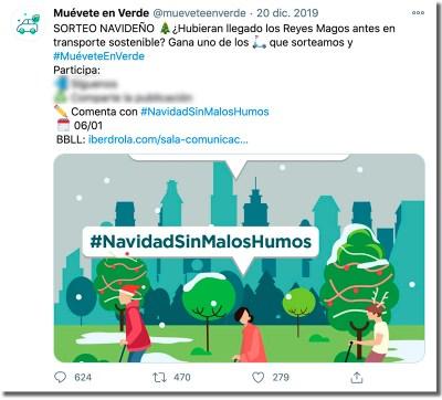 ejemplo de sorteo de Navidad en Twitter de Iberdrola
