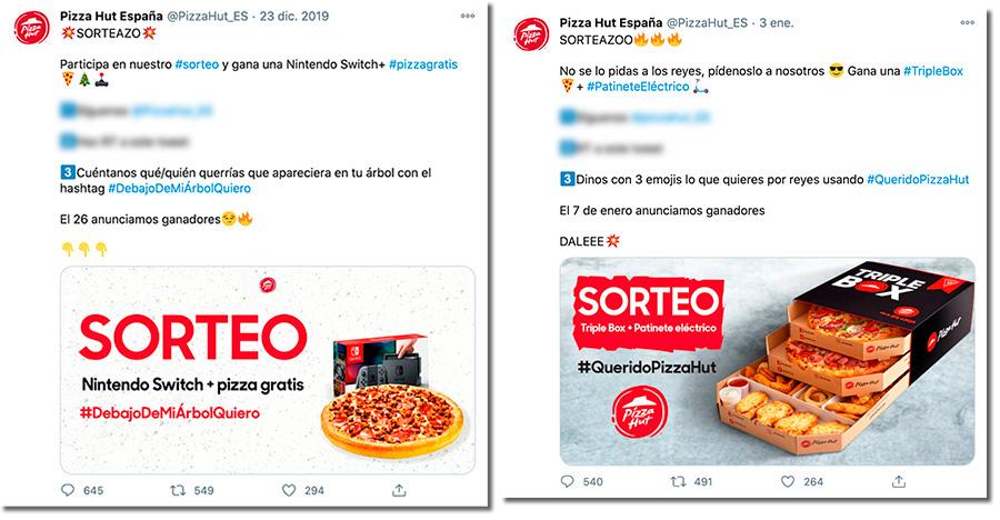 ejemplos de sorteos de Navidad en Twitter de Pizza Hut