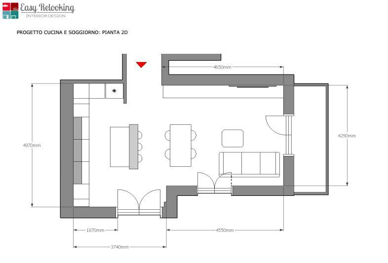 progetto 60 mq architettura a domicilio come arredare un open space di 40 50 mq mondodesign it. Open Space Cucina E Soggiorno1 Easyrelooking