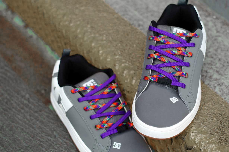 Purple & Rainbow Easy Tie Shoelaces