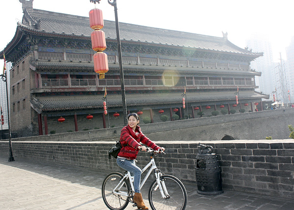 Cycling on Ancient City Wall of Xian