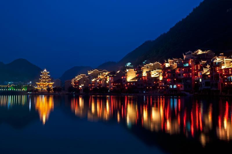 Zhenyuan Old Town Night scene