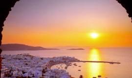 Isla de Mykonos Grecia al amanecer