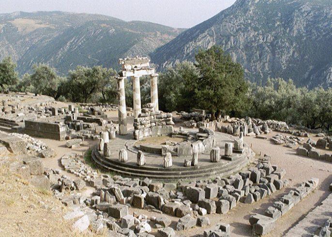 Tholos at Athina pronea temple Delphi Greece Athens city Break