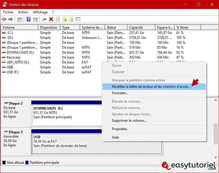 Reparer Cle Usb Memoire Illisible Ne Marche Pas Windows 10 2 Modifier Lettre