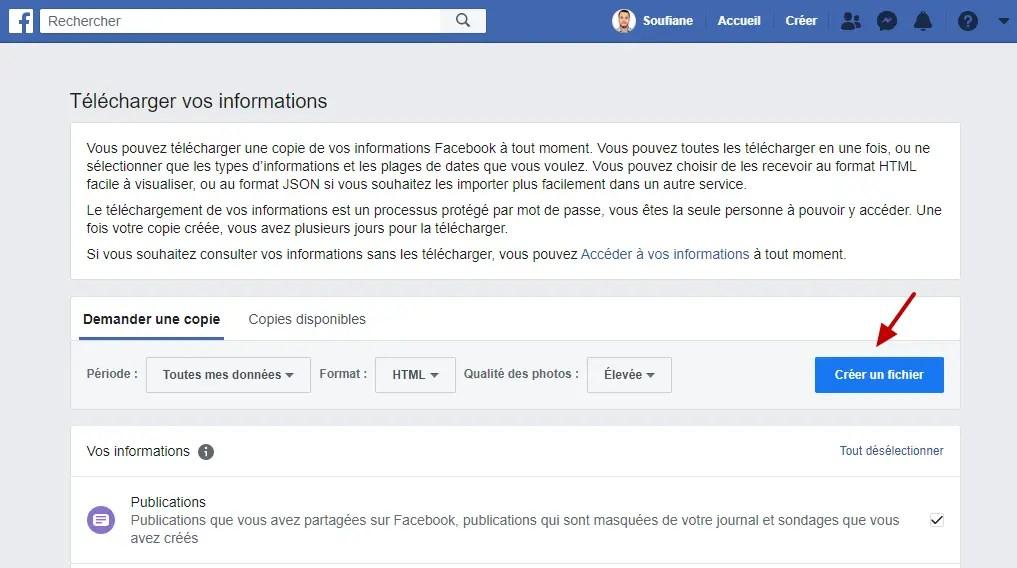Creer Un Fichier Demannder Une Copie Facebook Telecharger Informations