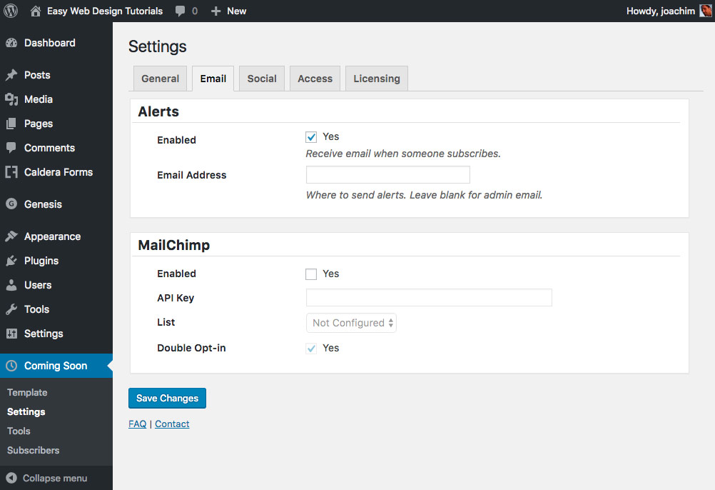 coming-soon-page-elite-settings-email