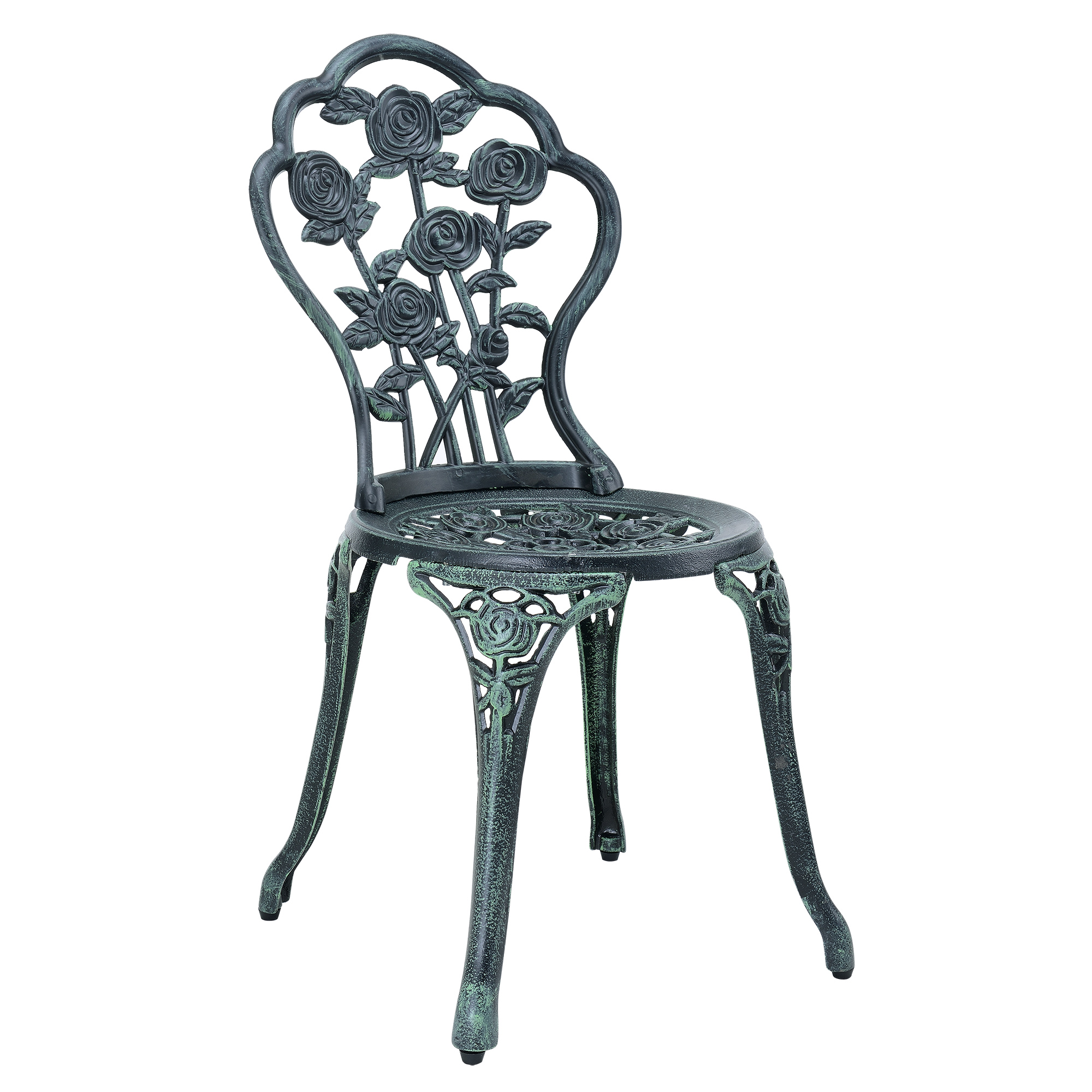 antique cast iron garden table and chairs oak spindle back dining 43 2 dark green bistro set