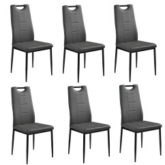 Grey Upholstered Dining Chairs Wheel Chair On Rent In Surat En Casa 6 X High Back Room Faux