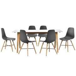 White 6 Chair Dining Table Rocking Runners En Casa With Chairs Grey 180x80