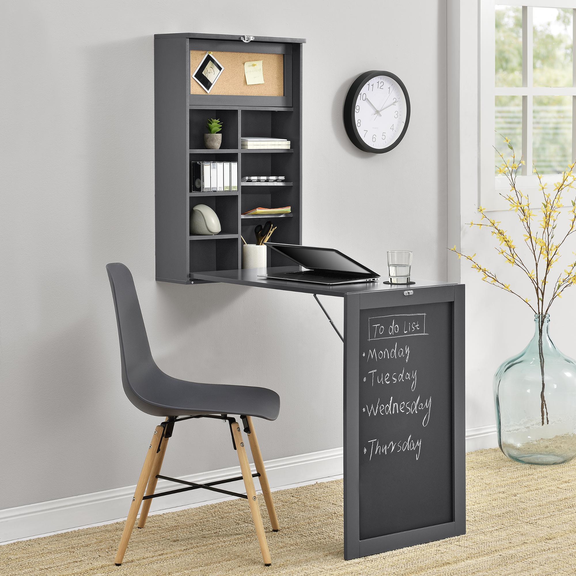 Encasa Wandtisch Grau Schreibtisch Tisch Regal Wand