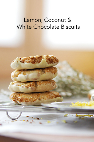 Cookies- dairy free White Choc-Lemon- chocolate treats recipe book allergy friendly