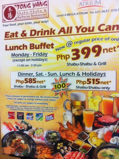 tong yang hot pot buffet price