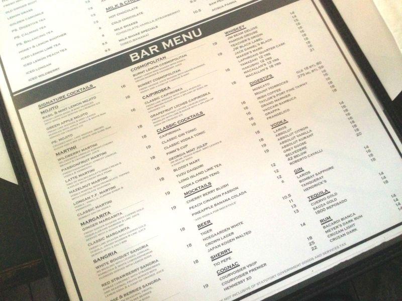 Bar Menu at PS. Cafe Dempsey Hill