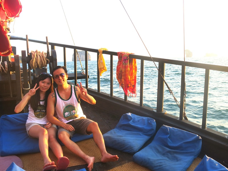 aComfortable cushions on Krabi Sunset Cruises deck floor