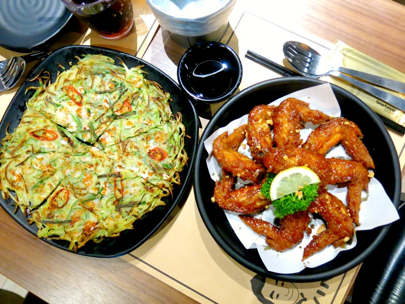 Seafood Pancake and Soy and Garlic Chicken Wing - Twins Korean Restaurant