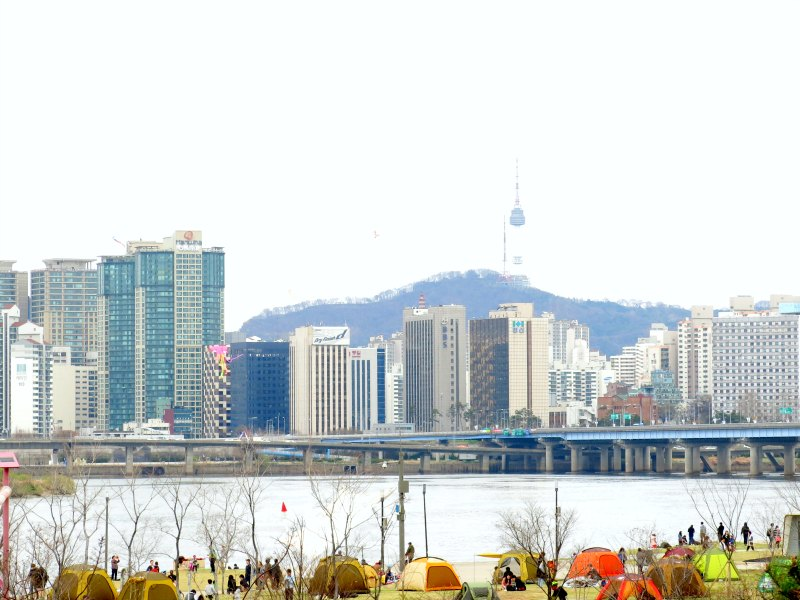 Seoul Skyline with Hangang River in foreground