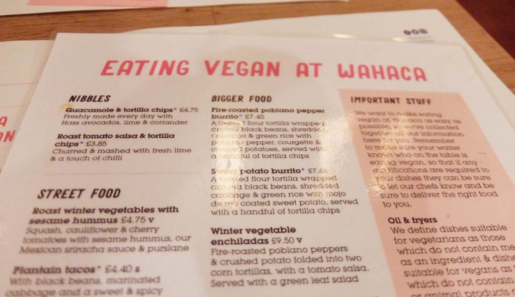 Vegan Menu at Wahaca