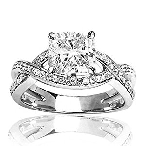 Engagement Rings - 1.3 CTW Eternity Love Criss Cross Twisting Split Shank Diamond Engagement Ring w/ 1.01 Ct GIA Certified Cushion Cut F Color SI1 Clarity Center