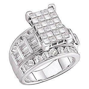 Engagement Rings - 14kt White Gold Womens Princess Diamond Cluster Bridal Wedding Engagement Ring 5.00 Cttw