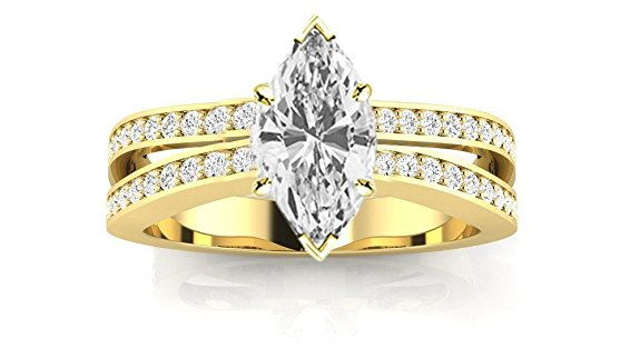 Engagement Rings - 1. 3.42 CTW Contemporary Double Row Split Shank Engagement Ring w/ 3.02 Ct GIA Certified Marquise Cut F Color SI1 Clarity Center