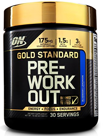 Best Pre Workout - Optimum Nutrition Gold Standard Pre-Workout with Creatine, Beta-Alanine, and Caffeine for Energy, Flavor: Blueberry Lemonade, 30 Servings