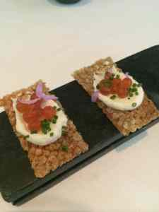 Crispy Salmon Skin Crackers with Roe