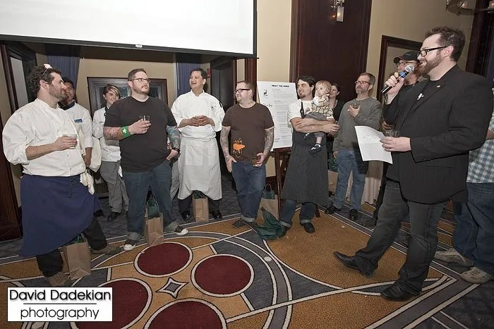 The five competing chefs with Brady Lowe, from left to right: Chef Tony Maws from Craigie on Main, Chef Matt Jennings from Farmstead, Chef Joseph Margate from Clink., Chef Jamie Bissonnette from Toro and Coppa, Chef Barry Maiden from Hungry Mother