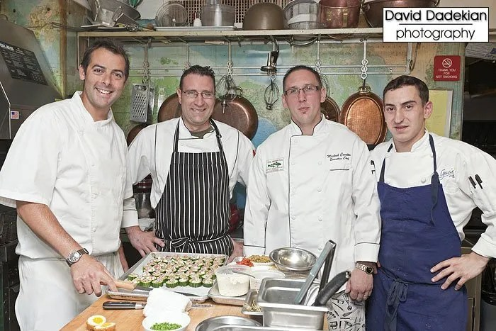 from left to right: Chez Pascal's Chef Matt Gennuso, One Bellevue at the Hotel Viking's Chef Kevin Thiele, The Mooring Seafood Kitchen & Bar's Chef Michael Conetta and Gracie's Chef Matthew Varga