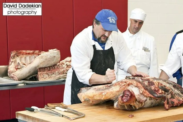 Butchery demo on side of Blackbird Farm beef by University of Kentucky Dr. Gregg Rentfrow 1