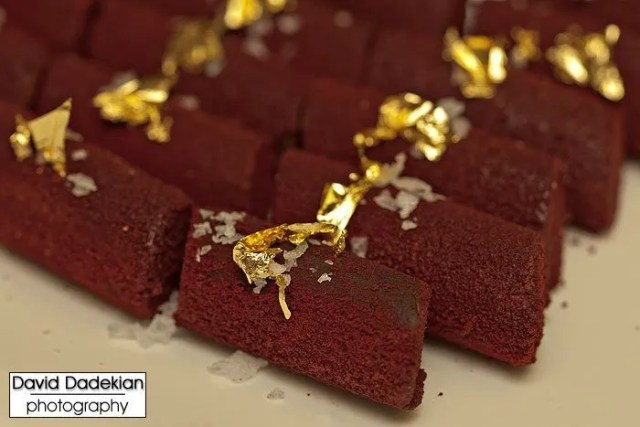 Chocolate mignardises with gold leaf