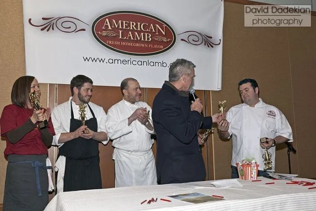 American Lamb Jam winners, from left to right: Oleana's marketing director, Chef Will Gilson, Chef Jim Solomon, Chef Brian Reyelt (hidden behind host Billy Costa, seen in the photo above) and Chef Jason Santos