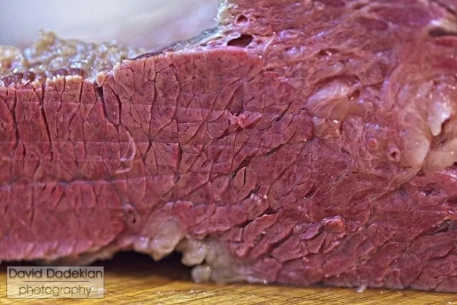 Cut muscle fiber of corned beef