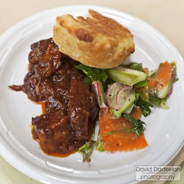 Nick's on Broadway, Chef Derek Wagner & Blackbird Farm - Smoked barbeque braised beef short ribs with local spring vegetables, herb salad and buttermilk cornbread
