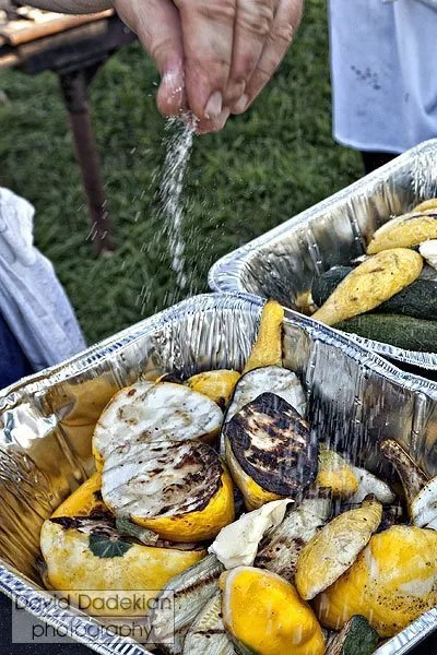 Seasoning the grilled squash