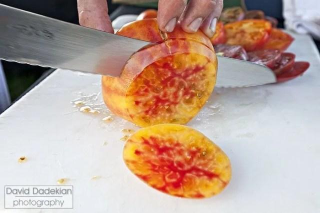 Slicing heirloom tomatoes
