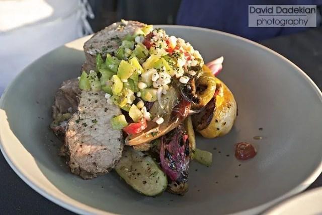 'Round the Bend Farm Tamworth pork loin, grilled squash & torpedo onion, tomatillo & charred corn chow chow