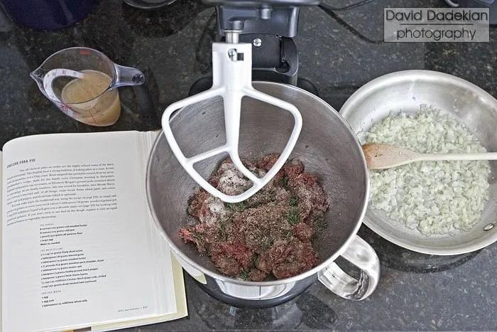 Preparing English meat pie