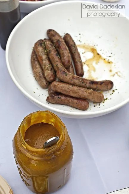 Nick's on Broadway sausages with mustard