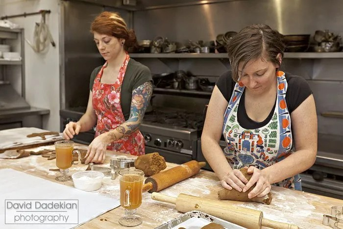 Jordan Goldsmith (left) and Melissa Denmark (right) working with the gingerbread dough