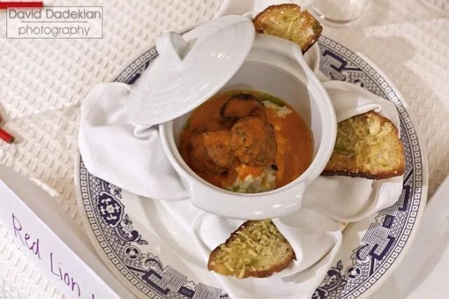 The Red Lion Inn Chef Brian Alberg's Lamb Shoulder & Kale Meatballs with Farm Girl Farm Smoked Tomato Puree & Parmesan Crustade